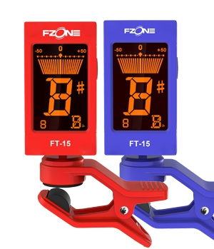 Fzone FT 15BL chromatic tuner with a rack, blue