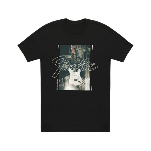Fender Stratocaster Men′s T-Shirt, black, size: S
