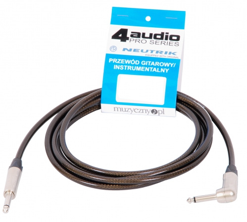 4Audio GT1075 3m guitar cable 1 straight and 1 angle Neutrik jack