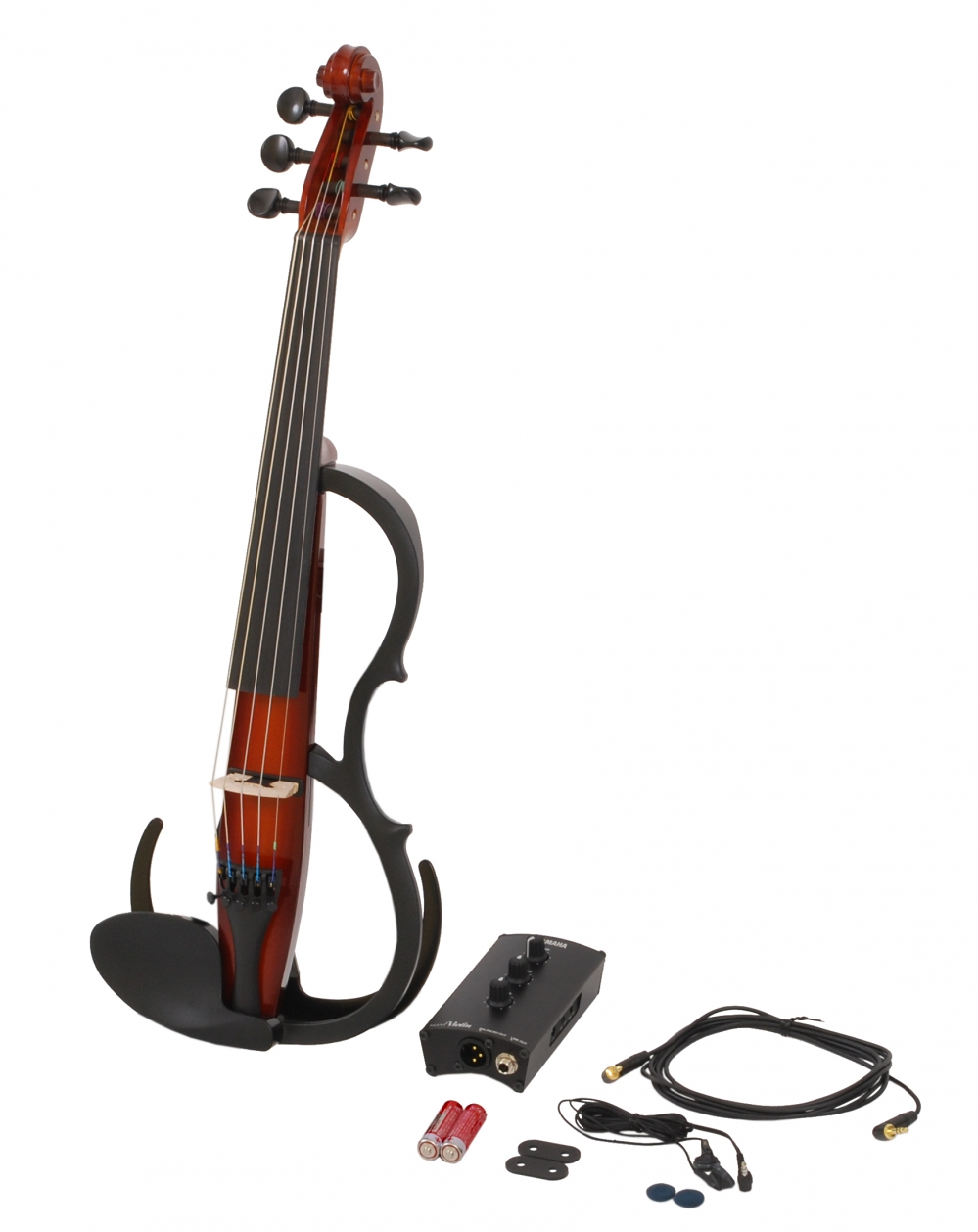 Yamaha sv255 br silent violin 5 string electric violin brown for Yamaha svc 110sk silent electric cello brown
