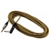 RockCable kabel instrumentalny - angled TS (6.3 mm / 1/4), braided cloth mantle, gold - 3 m / 9.8 ft.