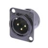 Neutrik NC3MD-L-1-B  male XLR panel socket, gold contacts